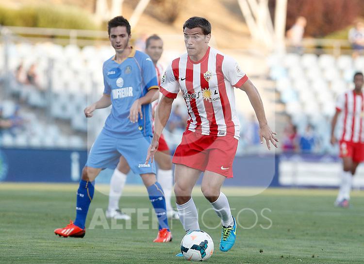 Almeria's Sebastian Dubarbier during La Liga match.August 23,2013. (ALTERPHOTOS/Acero)