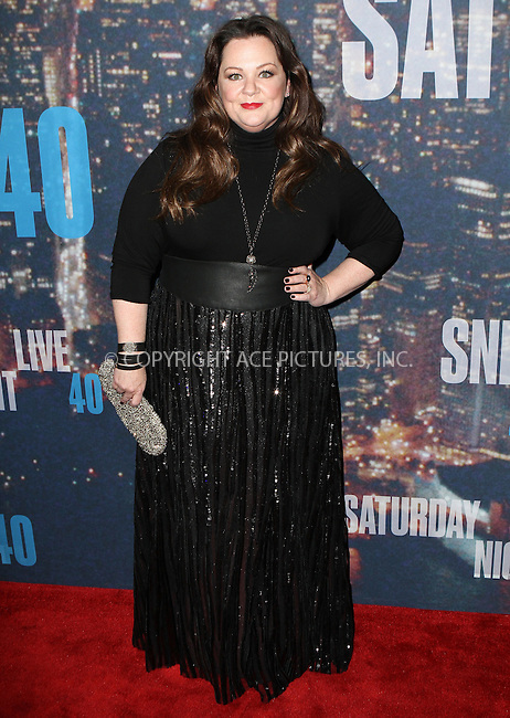 WWW.ACEPIXS.COM<br /> <br /> February 15 2015, New York City<br /> <br /> Melissa McCarthy arriving at the SNL 40th Anniversary Special at the Rockefeller Plaza on February 15, 2015 in New York<br /> <br /> By Line: Nancy Rivera/ACE Pictures<br /> <br /> <br /> ACE Pictures, Inc.<br /> tel: 646 769 0430<br /> Email: info@acepixs.com<br /> www.acepixs.com