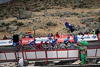 arriving at the finish<br /> <br /> Stage 20: Arenas de San Pedro to Plataforma de Gredos (190km)<br /> La Vuelta 2019<br /> <br /> ©kramon
