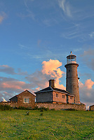 Gentle evening light on the Old Light, Lundy after a summer rain storm