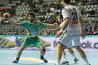 18.01.2013 Barcelona, Spain. IHF men's world championship, prelimanary round. Picture show  Gustavo Nakamura Cardoso   in action during game between Montenegro vs Brazil at Palau St Jordi