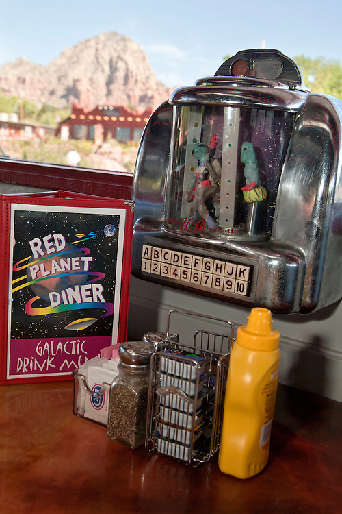 Space-themed jukeboxes head the table at the Red Planet Diner in Sedona, Arizona, USA