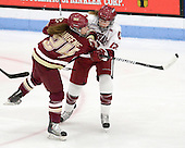Meagan Mangene (BC - 24), Samantha Reber (Harvard - 12) - The Boston College Eagles defeated the Harvard University Crimson 4-2 in the 2012 Beanpot consolation game on Tuesday, February 7, 2012, at Walter Brown Arena in Boston, Massachusetts.