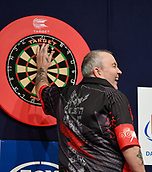 10th January 2018, Brisbane Royal International Convention Centre, Brisbane, Australia; Pro Darts Showdown Series; Phil Taylor(GBR)  in action against  Raymond Smith (AUS)