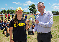 Tournament MVP Bella Armstrong and general manager of NZ Community Cricket Adrian Dale. The 2017 New Zealand Secondary Schools 1st XI NZCT girls' cricket national finals at Fitzherbert Park in Palmerston North, New Zealand on Sunday, 3 December 2017. Photo: Dave Lintott / lintottphoto.co.nz