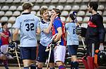 Almere - Zaalhockey  Laren-SCHC (heren)   .  Tim Bakker met Daan Dullemeijer (SCHC)  .TopsportCentrum Almere.    COPYRIGHT KOEN SUYK