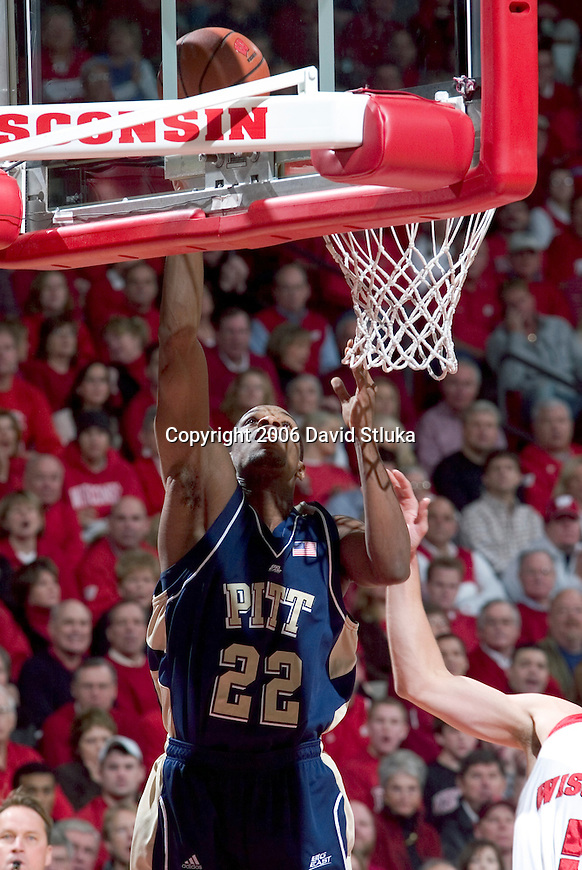 MADISON, WI - DECEMBER 16: Antonio Graves #22 of the Pitt Panthers shoots the ball against the Wisconsin Badgers at the Kohl Center on December 16, 2006 in Madison, Wisconsin. The Badgers beat the Panthers 89-75. (Photo by David Stluka)
