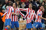 Atletico de Madrid's Filipe Luis, Arda Turan, Juanfran Torres and Raul Garcia celebrate during La Liga Match. November 11, 2012. (ALTERPHOTOS/Alvaro Hernandez)