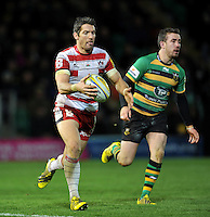 James Hook of Gloucester Rugby shapes to kick the ball. Aviva Premiership match, between Northampton Saints and Gloucester Rugby on November 27, 2015 at Franklin's Gardens in Northampton, England. Photo by: Patrick Khachfe / JMP