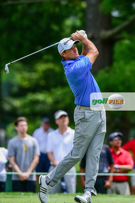 Sam Saunders (USA) watches his tee shot on 2 during round 2 of the 2016 Quicken Loans National, Congressional Country Club, Bethesda, Maryland, USA. 6/24/2016.<br /> Picture: Golffile | Ken Murray<br /> <br /> <br /> All photo usage must carry mandatory copyright credit (&copy; Golffile | Ken Murray)