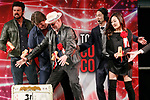 (L to R) Actors Karl Urban, Nathan Fillion, Michael Rooker and Karen Fukuhara, hit the top led of the sake barrel for good luck during the opening ceremony for the Tokyo Comic Con 2017 at Makuhari Messe International Exhibition Hall on December 1, 2017, Tokyo, Japan. This is the second year that San Diego Comic-Con International held the event in Japan. Tokyo Comic Con runs from December 1 to 3. (Photo by Rodrigo Reyes Marin/AFLO)