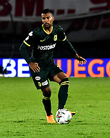 BOGOTA-COLOMBIA, 08-03-2020: Christian Mafla de Atletico Nacional, durante partido de la fecha 8 entre Independiente Santa Fe y Atletico Nacional, por la Liga BetPLay DIMAYOR I 2020, en el estadio Nemesio Camacho El Campin de la ciudad de Bogota. / Christian Mafla of Atletico Nacional, during a match of the 8th date between Independiente Santa Fe and Atletico Nacional, for the BetPlay DIMAYOR I Leguaje 2020 at the Nemesio Camacho El Campin Stadium in Bogota city. / Photo: VizzorImage / Luis Ramirez / Staff.