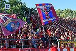 10.08.2019, Donaustadion, Ulm, GER, DFB Pokal, SSV Ulm 1846 Fussball vs 1. FC Heidenheim, <br /> DFL REGULATIONS PROHIBIT ANY USE OF PHOTOGRAPHS AS IMAGE SEQUENCES AND/OR QUASI-VIDEO, <br /> im Bild Fankurve Heidenheim, Gaesteblock<br /> <br /> Foto © nordphoto / Hafner