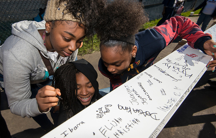 Beam signing at Lawson Middle School, March 31, 2017.