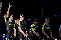 Adam Yates (GBR/Mitchelton-Scott) greeting the crowd at the Official 106th Tour de France 2019 Teams Presentation at the Central Square (Grote Markt) in Brussels (Belgium)<br /> <br /> ©kramon