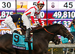 November 2, 2019: Bricks and Mortar, ridden by Irad Ortiz, Jr., wins the Longines Breeders' Cup Turf on Breeders' Cup World Championship Saturday at Santa Anita Park on November 2, 2019: in Arcadia, California. Casey Phillips/Eclipse Sportswire/CSM