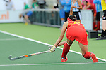 The Hague, Netherlands, June 10: Pan Liu #21 of China passes the ball during the field hockey group match (Women - Group B) between Argentina and China on June 10, 2014 during the World Cup 2014 at GreenFields Stadium in The Hague, Netherlands. Final score 1-1 (yy-yy) (Photo by Dirk Markgraf / www.265-images.com) *** Local caption ***