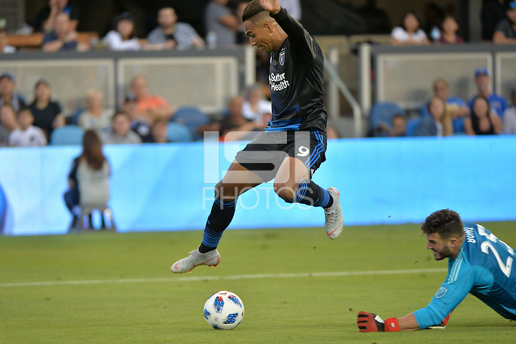 San Jose, CA - Saturday August 18, 2018: Danny Hoesen, Alex Bono during a Major League Soccer (MLS) match between the San Jose Earthquakes and Toronto FC at Avaya Stadium.