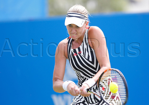 21.06.2016 Eastbourne, England. Aegon International Eastbourne Tennis Tournament. Kristina Mladenovic (FRA) defeats Timea Bacsinszky (SUI) by a score 6-1, 7-5 in their 1st round match at Devonshire Park.
