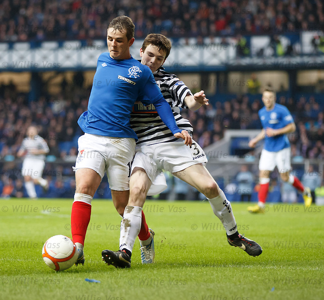 Andrew Robertson clips David Templeton who goes flying