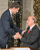 Incoming Speaker of the United States House of Representatives Paul Ryan (Republican of Wisconsin) shakes hands with US Representative Louie Gohmert (Republican of Texas) following his opening remarks in the US House Chamber in the US Capitol in Washington, DC on Thursday, October 29, 2015.<br /> Credit: Ron Sachs / CNP