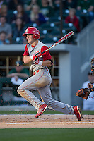 Jake Fincher (30) of the North Carolina State Wolfpack follows through on his swing against the Charlotte 49ers at BB&T Ballpark on March 31, 2015 in Charlotte, North Carolina.  The Wolfpack defeated the 49ers 10-6.  (Brian Westerholt/Four Seam Images)