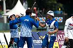 Sugimoto Tomomi (JPN),   Kim Sang-Hoon, Furukawa Takaharu (JPN),<br /> AUGUST 27, 2018 ? Archery : <br /> Asian games 2018 Jakarta Palembang<br /> Recurve Mixed Team Gold Medal Match, <br /> at The GBK in Jakarta, Indonesia. <br /> (Photo by AFLO)