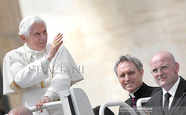 Pope Benedict XVI Monsignor Georg Gaenswein private secretary to Pope Benedict XVI, Domenico Giani personal bodyguard the Pope Benedict XVI,during his weekly general audience in St. Peter square at the Vatican, Wednesday. 18 April, 2012