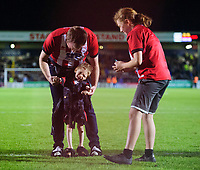 A young Lincoln City fan takes a penalty at half time<br /> <br /> Photographer Chris Vaughan/CameraSport<br /> <br /> The Carabao Cup Second Round - Lincoln City v Everton - Wednesday 28th August 2019 - Sincil Bank - Lincoln<br />  <br /> World Copyright © 2019 CameraSport. All rights reserved. 43 Linden Ave. Countesthorpe. Leicester. England. LE8 5PG - Tel: +44 (0) 116 277 4147 - admin@camerasport.com - www.camerasport.com