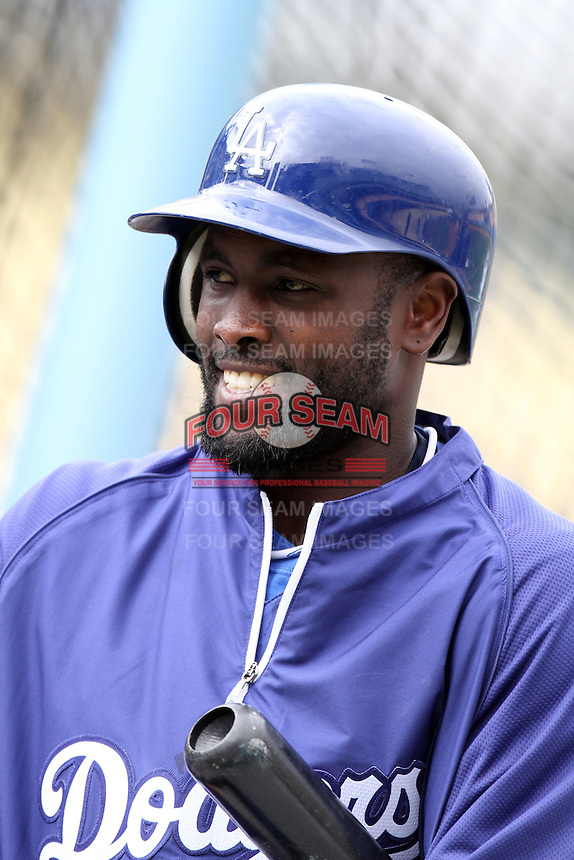 Tony Gwynn,jr. #10 of the Los Angeles Dodgers before game against the San Francisco Giants at Dodger Stadium in Los Angeles,California on April 3, 2011. Photo by Larry Goren/Four Seam Images