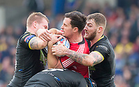 Picture by Allan McKenzie/SWpix.com - 07/04/2018 - Rugby League - Betfred Super League - Salford Red Devils v Warrington Wolves - AJ Bell Stadium, Salford, England - Salford's Jack Littlejohn is tackled by Warrington's Mike Cooper & Daryl Clark.