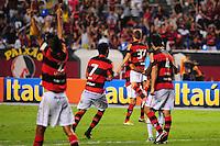 ATENCAO EDITOR: FOTO EMBARGADA PARA VEÍCULOS INTERNACIONAIS. - RIO DE JANEIRO, RJ, 16 DE SETEMBRO DE 2012 - CAMPEONATO BRASILEIRO - FLAMENGO X GREMIO - Jogadores do Flamengo, comemoram o gol de Adryan, durante partida contra o Gremio, pela 25a rodada do Campeonato Brasileiro, no Stadium Rio (Engenhao), na cidade do Rio de Janeiro, neste domingo, 16. FOTO BRUNO TURANO BRAZIL PHOTO PRESS