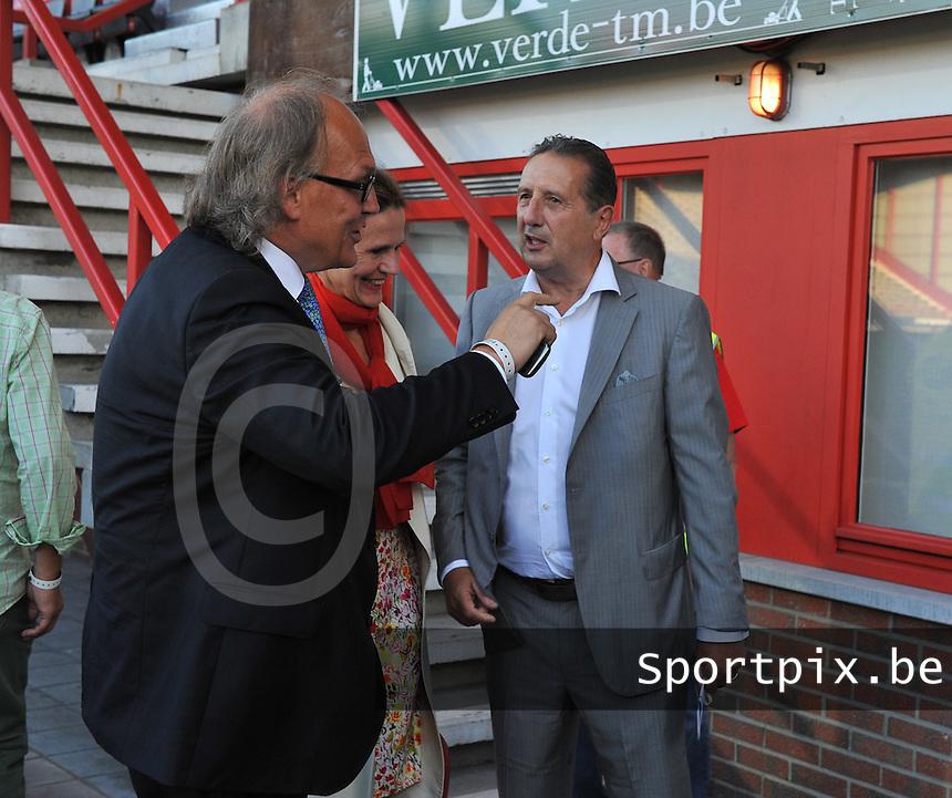 KV Kortrijk - Sporting Lokeren : Kortrijk Voorzitter Joseph Allijns (links) en Georges Leekens<br /> foto VDB / Bart Vandenbroucke
