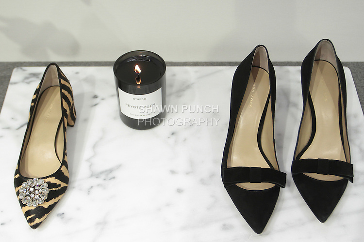 Shoes displayed during the Ann Taylor Fall Winter 2016 collection fashion presentation, at 7 Times Square on April 20, 2016.