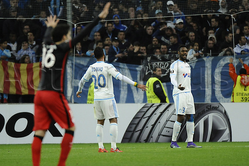 18.02.2016. Marseille, France. UEFA Europa league football. Marseille versus Athletic Bilbao.  Romao (OM) and Nkoulou (OM) dejected as they go behind