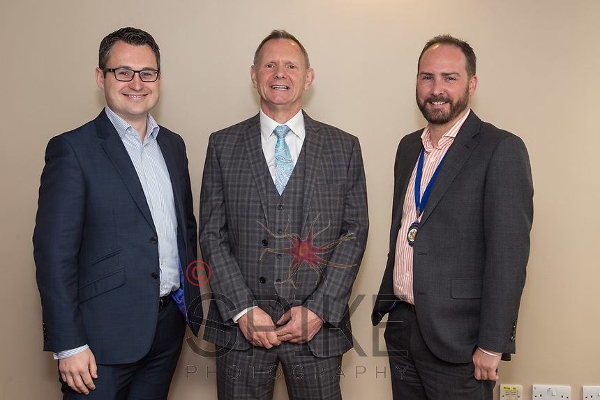 Guest Speaker Nigel Skill of Skills Holidays (centre) is flanked by club sponsor Nic Elliot of Actons (left) and James Simmonds, president of Nottingham City Business Club,
