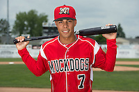 Batavia Muckdogs infielder Iramis Olivencia (7) poses for a photo during media day on June 10, 2014 at Dwyer Stadium in Batavia, New York.  (Mike Janes/Four Seam Images)
