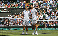 Novak Djokovic (SRB) and Kei Nishikori (JPN) prior to their Men's Quarter Final match<br /> <br /> Photographer Rob Newell/CameraSport<br /> <br /> Wimbledon Lawn Tennis Championships - Day 9 - Wedesday 11th July 2018 -  All England Lawn Tennis and Croquet Club - Wimbledon - London - England<br /> <br /> World Copyright &not;&copy; 2017 CameraSport. All rights reserved. 43 Linden Ave. Countesthorpe. Leicester. England. LE8 5PG - Tel: +44 (0) 116 277 4147 - admin@camerasport.com - www.camerasport.com