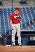 Fort Myers Miracle starting pitcher Tyler Wells (40) looks in for the sign during a game against the Tampa Tarpons on May 2, 2018 at George M. Steinbrenner Field in Tampa, Florida.  Fort Myers defeated Tampa 5-0.  (Mike Janes/Four Seam Images)
