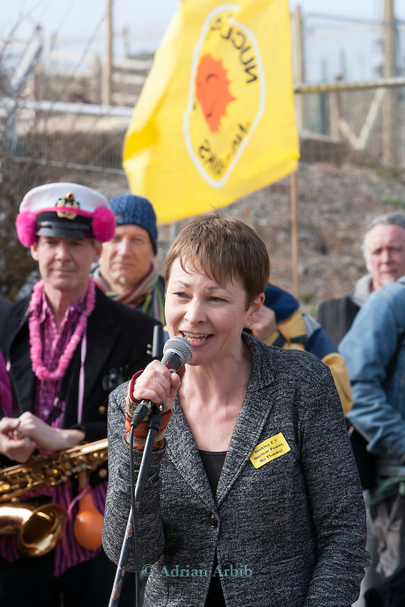 Green MP  Caroline Lucas talks to Protesters at a march against the building of  Hinkley C power station, Somerset  and the UK government's choice of Nuclear power as the mainstay of England's power supply.
