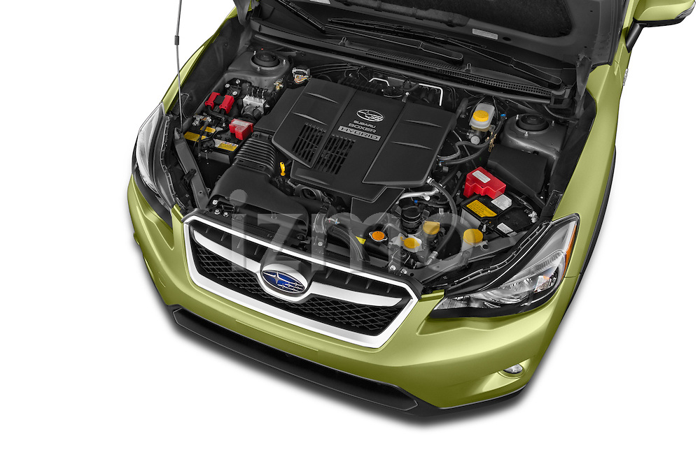 Car Stock 2015 Subaru XV Crosstrek Hybrid 5 Door SUV Engine high angle detail view