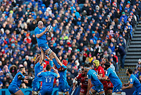 12th January 2020; RDS Arena, Dublin, Leinster, Ireland; Heineken Champions Cup Rugby, Leinster versus Lyon Olympique Universitaire; Devin Toner of Leinster collects the line-out ball - Editorial Use