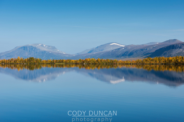 Mountain reflection on lake Sitojaure, Kungsleden trail, Lapland, Sweden