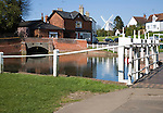 Pond and historic buildings in the attractive tourist honeypot village of Finchingfield, Essex, England