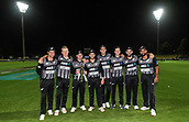 10th February 2019, Seddon Park, Hamilton, New Zealand; 3rd T20 International, New Zealand versus India;    Northern Districts players with the series winning trophy