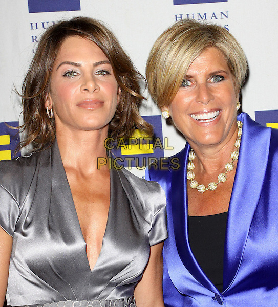 JILLIAN MICHAELS & SUZE ORMAN.Attending the Human Rights Campaign Los Angeles Gala held At The Hyatt Century Plaza Hotel, Century City, California, USA, .13th March 2010..arrivals portrait headshot purple blazer jacket silk satin silver grey gray silk satin .CAP/ADM/KB.©Kevan Brooks/Admedia/Capital Pictures