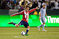 Chivas USA midfielder Blair Gavin (18) sending the ball down field. Sporting KC defeated CD Chivas USA 3-2 at Home Depot Center stadium in Carson, California on Saturday March 19, 2011...