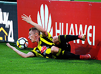 Goran Paracki reacts to being pushed over during the A-League football match between Wellington Phoenix and Adelaide United at Westpac Stadium in Wellington, New Zealand on Saturday, 27 January 2018. Photo: Dave Lintott / lintottphoto.co.nz