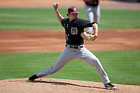 Mississippi State Bulldog pitcher Kendall Graveman #49 delivers a pitching during the NCAA baseball game against the LSU Tigers on March 18, 2012 at Alex Box Stadium in Baton Rouge, Louisiana. LSU defeated Mississippi State 4-2. (Andrew Woolley / Four Seam Images).