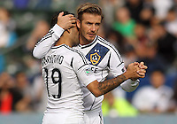 CARSON, CA - DECEMBER 01, 2012:   David Beckham (23) and  Juninho (19) of the Los Angeles Galaxy against the Houston Dynamo during the 2012 MLS Cup at the Home Depot Center, in Carson, California on December 01, 2012. The Galaxy won 3-1.